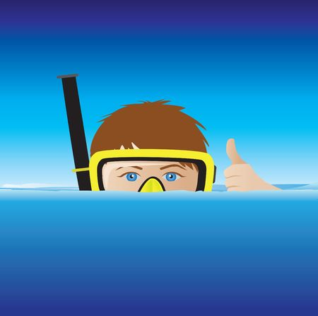 swims: cartoon of a snorkeller with mouth under the water in the sea