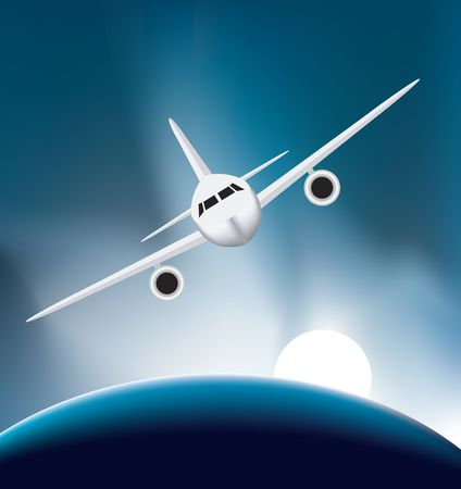 soaring: airplane soaring high up above the earth