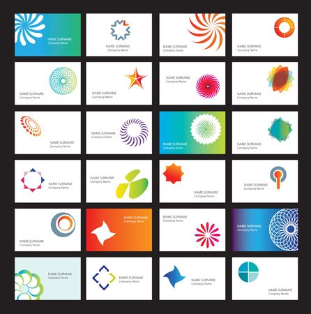 set of white business cards with design elements Vector