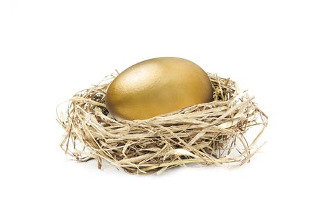 big golden nest egg isolated on white background photo