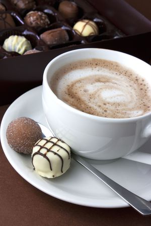 chocolate truffle: hot chocolate and truffles viewed from above