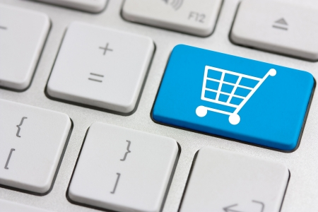 shopping cart: retail or shopping cart icon on keyboard button Stock Photo