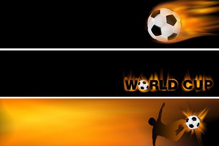 striker: web banner for football and the world cup, set of three