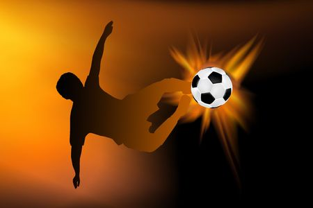 striker: football illustration made from real flames surrounding the flying football Stock Photo