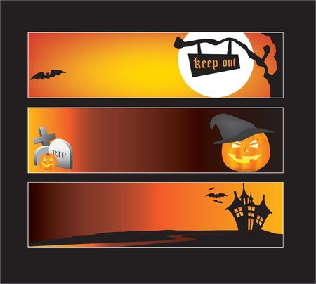 monsters house: Website banners with space left for message Illustration