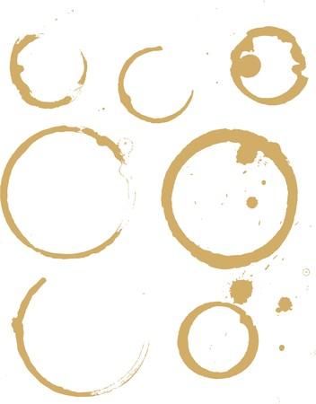 manchas de cafe: ilustraciones de un conjunto de manchas caf� y t�
