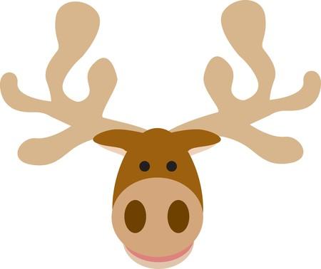 illustration cartoon style of a big moose head