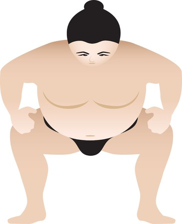 crouching: sumo wrestler in a crouching position, illustartion Illustration