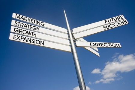A business concept showing business decisions and direction photo