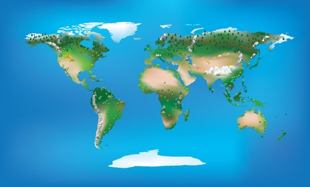 World map full colour and detailed land type and trees and mountains