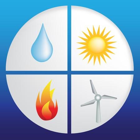 fire ring: anillo natural de cuatro elementos, el agua, sol, fuego y viento  Vectores