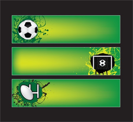 football net: illustration of football and rugby sports banners