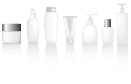 Set of blank lotion, moisturiser and make up type bottles Vector