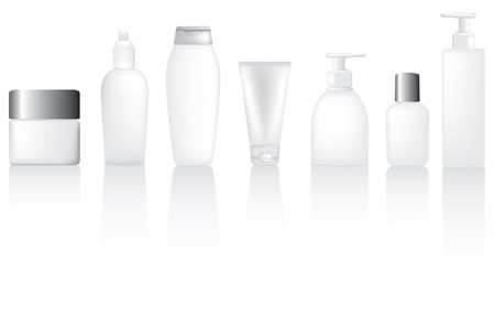 cosmetic cream: Set of blank lotion, moisturiser and make up type bottles