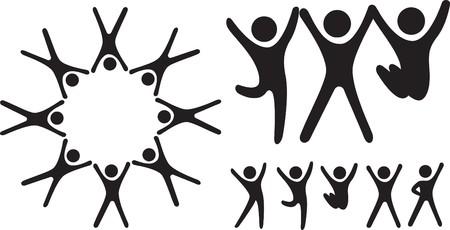 Caracteres de tipo de icono simple como un grupo y emociones felices