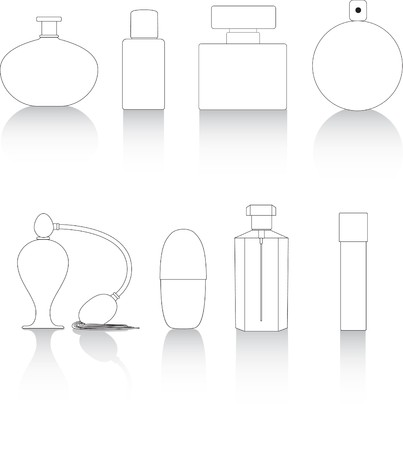 eau de toilette: Set of blank perfume, moisturiser and make up type bottles