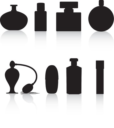 fragrance: parfum fles zwart silhouet vector illustratie op wit