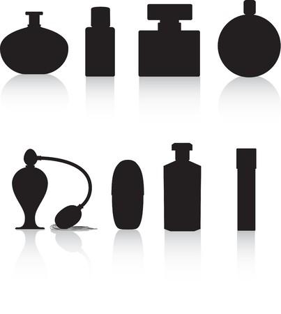 fragranza: profumo di illustrazione vettoriale di bottiglia siluetta nero su bianco