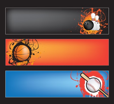 ten pin bowling: illustration set of sports banners on coloured  background Illustration