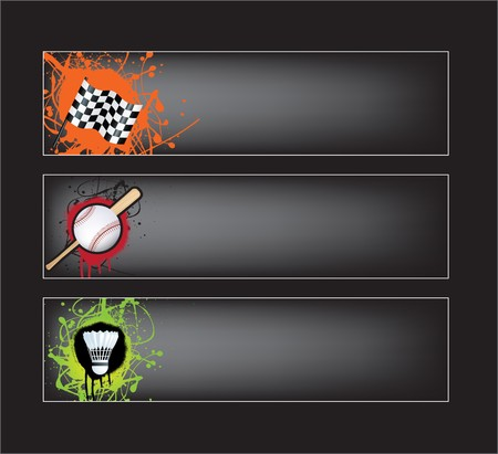 illustration set of sports banners on black background Stock Vector - 6940450