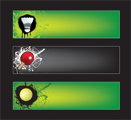 table tennis: illustration set of sports banners on black and green  background