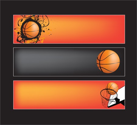 nba: illustration set of basketball banners on black background Illustration