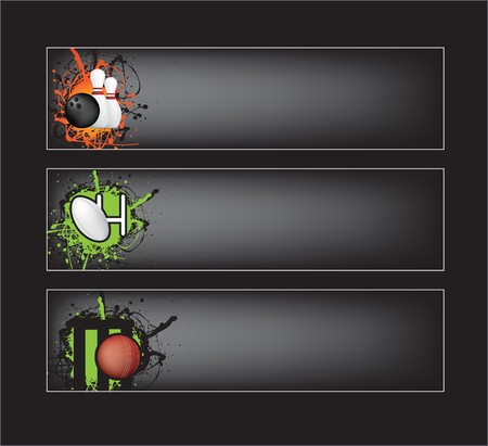 ten pin bowling: illustration set of sports banners on black background