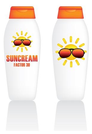 sun lotion: Ilustraci�n de mal de los envases de una botella  Vectores