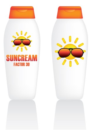 factor: suncream illustration of packaging of a bottle