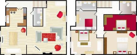 furnishing: Boven- en dwonstairs lucht foto van het interieur van een typisch huis  Stock Illustratie