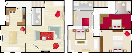 floorplan: Upstairs and dwonstairs aerial view of the interior of a typical home