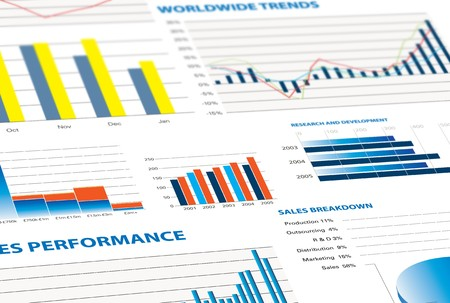 scrutinise: selection of financial and economic graphs as a background graphic Stock Photo