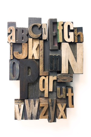 the english alphabet in wooden letterpress printing blocks photo