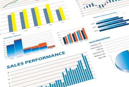 selection of financial and economic graphs measuring business performance photo