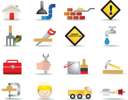 under construction sign with man: detailed colour icon set of construction and diy icons