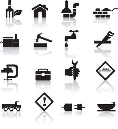 plumber with tools: construcci�n y conjunto de bot�n de icono de diy silueta negra