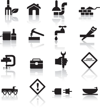 construction logo: construction and diy black silhouette icon button set