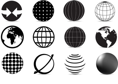 simple logo: set of black and white globe icons and symbols Illustration