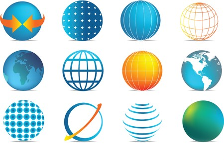 earth logo: selection of colour globe icons in different illustration styles