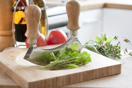 worktop: chopped herbs on a kitchen worktop table