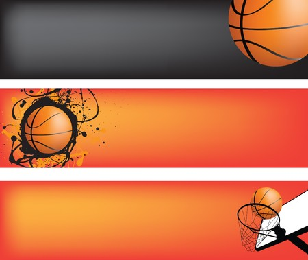 ballon basketball: mod�le de bande de basket-ball avec espace pour le texte, id�al pour la banni�re web
