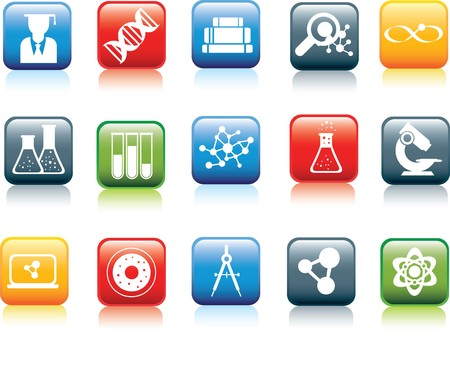 cytoplasm: Illustration set of colour icons with reflection and icon in white