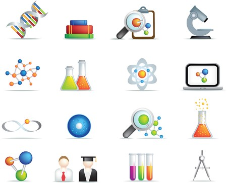 detailed set of scientific research icons and items on white background Vector