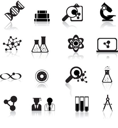 lab test: set of black scientofic silhouette icons with reflection Illustration