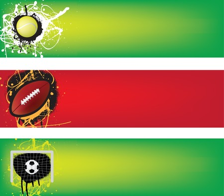 grunge football: tennis, american football and soccer banner in illustration grunge style