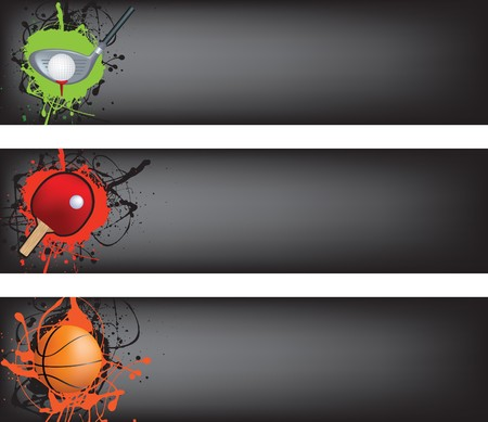 sports web banner grunge style colour illustration Stock Vector - 7222263