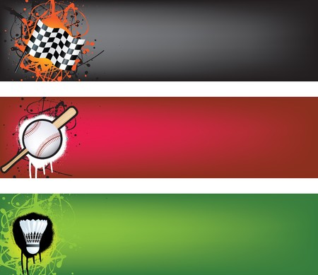 sports web banner grunge style colour illustration Vector