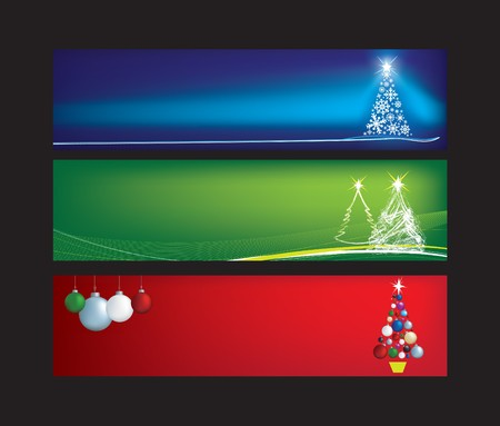 christmas baubles of modern design: blank christmas web banners with space for text Illustration