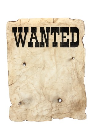copy sapce: antique style yellow old distressed wanted poster with bullet holes Stock Photo