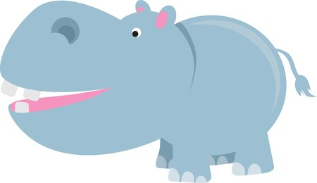 large mouth: hippo modern colour cartoon character on white background